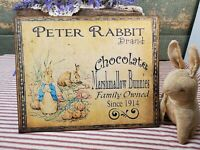 PRIMITIVE ANTIQUE VINTAGE FOLK ART STYLE PETER RABBIT BUNNY EASTER CANVAS SIGN