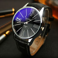 Stylish Men's Leather Military Casual Analog Quartz Wrist Watch Business Watches