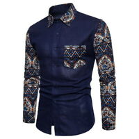 Fashion Mens Long Sleeve Botton Down Casual Shirts Slim Fit Floral Dress Shirts