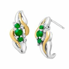 3/8 ct Emerald Half-Hoop Earrings w/ Diamonds, Sterling Silver & 14K Yellow Gold