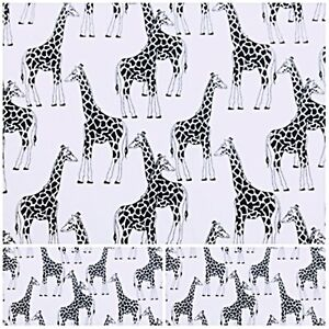 GIRAFFE Polycotton Fabric Crafts WHITE BLACK  Metre Material Special Offer