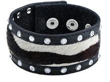 Men Black Color Moo Hair Literal Faux Leather Crystal Rhinestone Bracelet Cuff
