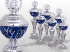 6er Pokalserie Pokale BLUE STARLIGHT mit Gravur günstige Pokale silber / blau