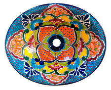 #135 MEDIUM BATHROOM SINK 17X14 MEXICAN CERAMIC HAND PAINT DROP IN UNDERMOUNT