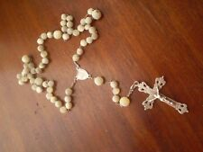 Antique Silver Motner OF Pearl Prayer Beads Religious Rosary w Cruclflx