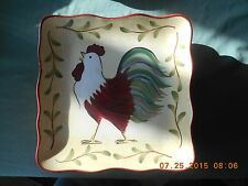 CLAY ART ROOSTER SALAD PLATE Clay Hand Painted