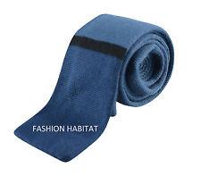 Mens Knitted Tie -Teal Blue & Black Stripe Skinny Woven Necktie - New Slim Knit