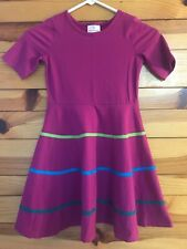 Hanna Andersson Skater Dress Girls Fuchsia Striped Detail Short Sleeve Sz 120  7