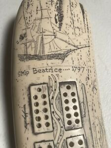 Scrimshaw Faux Whale ToothCribbage Board - Sailing Scene Ship Beatrice 1797 14''