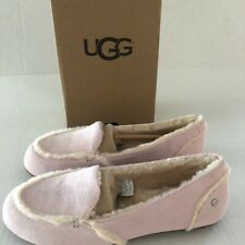 UGG HAILEY SEASHELL PINK SUEDE/ SHEEPSKIN MOCCASIN LOAFERS, UK 6.5 Fits UK 6