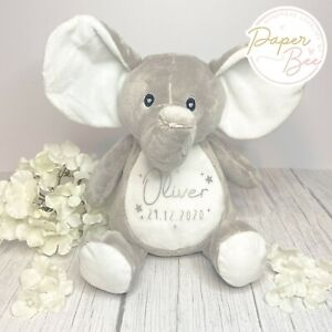 Personalised Tusker Elephant bear my 1st teddy add any name boys girls baby toddler newborn nursery ellie boys girls gift birthday