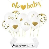 Baby shower decorations set: 9 balloons [ gold heart, confetti, oh baby] gold ri