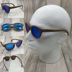 Men's Handcrafted Kosso Wood Frame Blue Mirror TAC Polarized Sunglasses 100% UV
