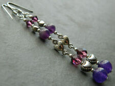 Glass Round Amethyst Costume Earrings