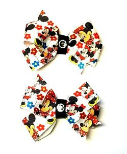 Disney MICKEY and MINNIE Girl Hair Bows with Non Slip Clips - Handmade Set of 2