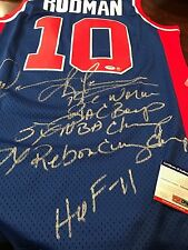 AUTOGRAPHED DENNIS RODMAN PISTONS JERSEY WITH HAND SIGNED STATS WITH PSA CERT