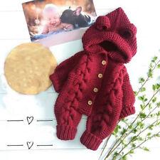 Newborn Infant Baby Girl Boy Winter Thick Warm Coat Knit Outwear Hooded Jumpsuit