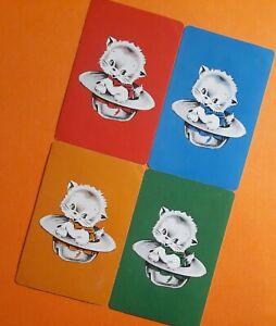 "Swap cards vintage - SET OF 4 GENUINE VINTAGE ""KITTEN SITTING IN A HAT"""
