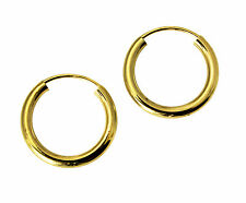 """14K Real Yellow Gold 2mm Thickness Polished Endless Small Hoop Earrings 1/2"""""""