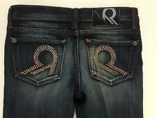 NWOT Rock & Republic Dark Skinny Bling Jeans Red Stitching Jr Tween Sz 25