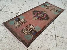 Pink Green Color Vintage Handmade Rug, Small Bedside Carpet 19'' x 44''