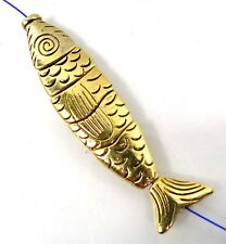 1 Greek Worry Fish Large Golden Pewter Assembling Focal Pendant Bead 70x15mm