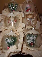West Germany 3D Diorama ornaments bottlebrush trees mushroom angel Santa HTF VGC