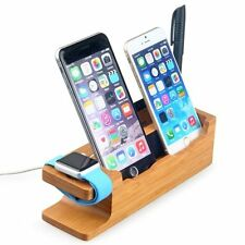 Bamboo Wooden Charging Dock Station Cradle Holder 4 iWatch iPhone 8 X 7 6s Plus