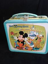 Vintage 1970's Walt Disney World Metal Lunch Box~Mickey Mouse~ Donald Duck~Pluto