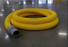 "SASE 2""x25' FLEXIBLE YELLOW CRUSH PROOF VACUUM HOSE WITH 2 GREY CUFFS NEW"