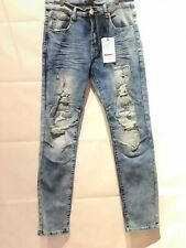 Men's Bleeker Bleeker Distressed Jeans with Rips - (Dark Indigo with Ice wash