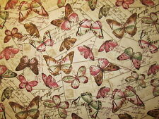 Butterfly Paris Post Cards Script Writing Natural Butterflies Cotton Fabric FQ