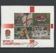 GB 2003 Rugby World Cup Champions MINISHEET fine used set stamps on piece