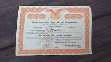 RARE 1929 NORTH AMERICAN LLOYD AIRCRAFT CORPORATION USA SHARE CERTIFICATE