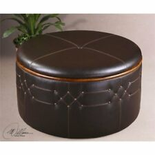 Uttermost 23008 Brunner Sable Brown Faux Leather Storage Ottoman