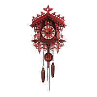 Cuckoo Wall Clock Hanging Wood Forest Tree Handcraft Swing Vintage Style,Battery