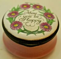 "Crummles & Co. English Enamels "" May You Be Happy"" Trinket Box very rare"
