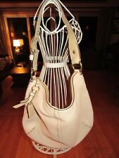 7T/COACH AUTH WHITE PEBBLED LEATHER SHOULDER/HOBO BAG/HANDBAG/LARGE/PRE-OWNED!