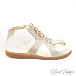 Maison Martin Margiela MMM22 White Smoke Leather Suede GAT Trainer Sneakers 11