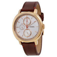 Fossil Chelsey Multifunction White Dial Brown Leather Ladies Watch ES3594