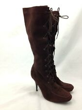 Cami Boots Womens 10 Knee High Brown Leather Suede Side Zip Heels Lace Up Front