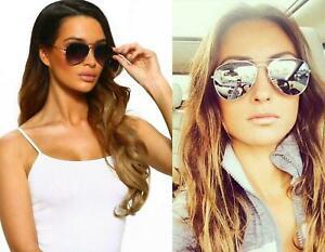 Pilot Flat Style Mirror Reflective Sunglasses Men Women Vintage Oversized UV400