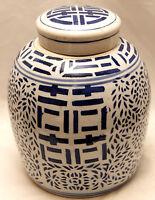 GINGER JAR, CHINESE PORCELAIN VASE, BLUE & WHITE VASE, DOUBLE HAPPINESS