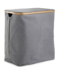 Zeller Grey And Bamboo Dual Compartment Laundry Basket From Wayfair RRP £79