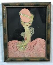 Vintage Art Deco Ribbon Art Paper Doll Framed Blond Hair Satin Ribbon Lace 8x10