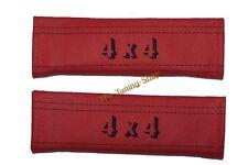 2x Cintura Copre spalla in pelle ROSSA ricamo 4x4 nero cuciture nuovo