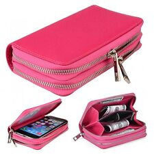 (Rose)Double Zip Wallet Bag ID Card PU Leather Case Cover For Alcate Phones