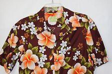 Vintage 60's Ui Maikai Shirt Hibiscus Aloha Hawaiian Shirt Brown Orange S M