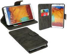 Book-Style Handyhülle Samsung Galaxy Note 3 N9005 + Displayfolie // Anthrazit