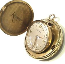 Vintage Men's Movado 18K Gold Pocket Watch Circa 1950s